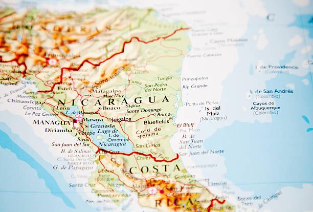 karte von nicaragua - nicaragua stock-fotos und bilder
