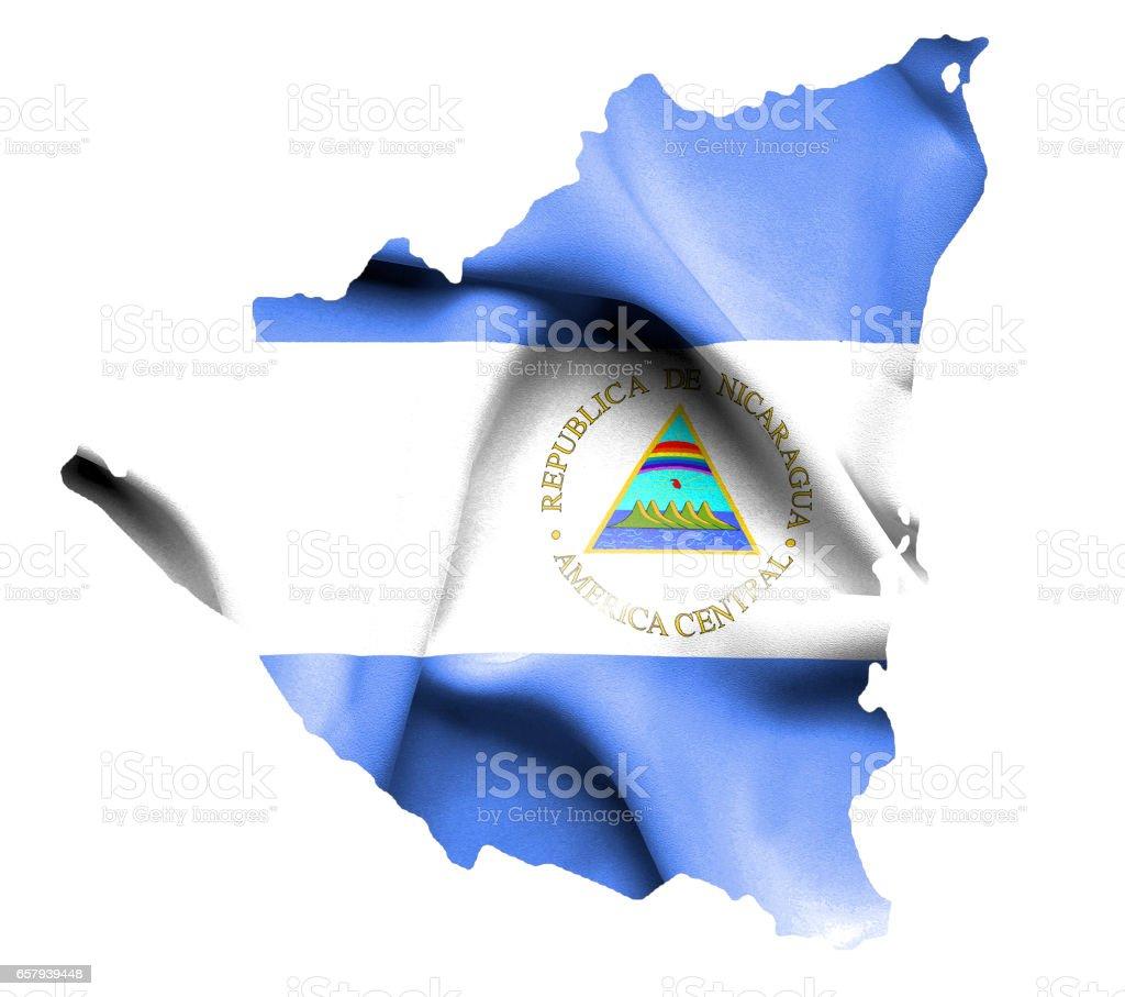 Mapa con bandera de Nicaragua Saludar con la mano aislada sobre blanco - foto de stock
