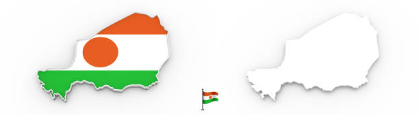 3D map of Niger white silhouette and flag stock photo