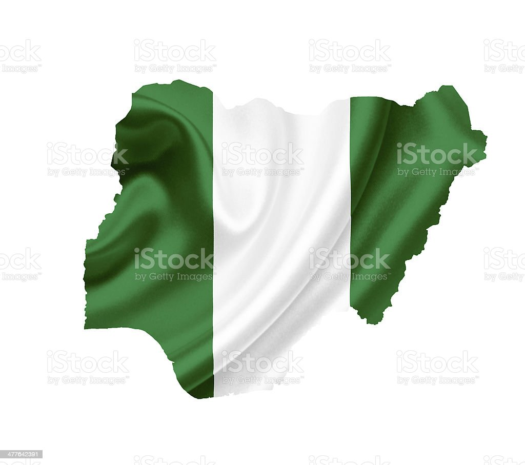 Map of Nigeria with waving flag isolated on white royalty-free stock photo