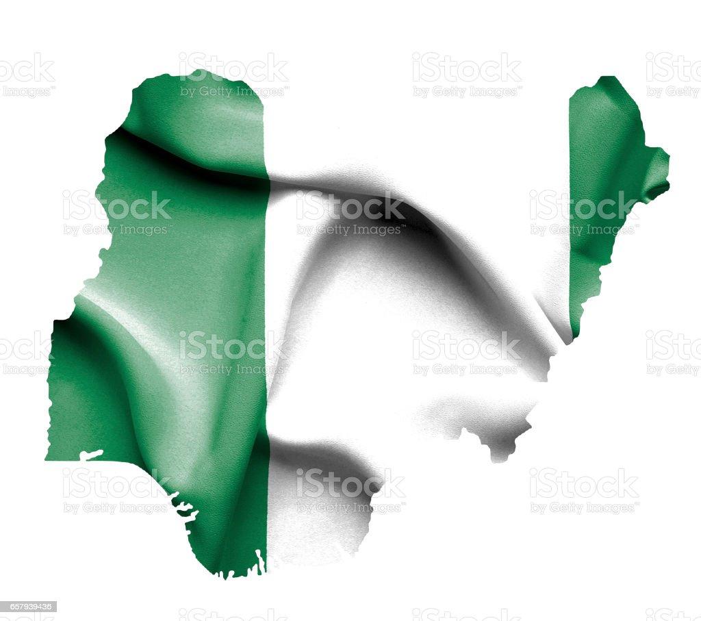 Mapa de Nigeria con bandera Saludar con la mano aislada sobre blanco - foto de stock