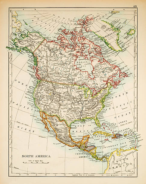 map of north america 1897 - north america stock photos and pictures