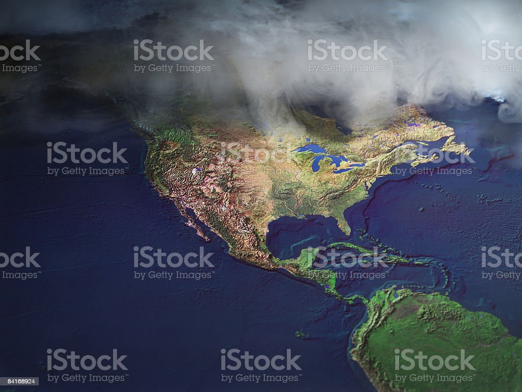 Map of North America with fog royalty-free stock photo