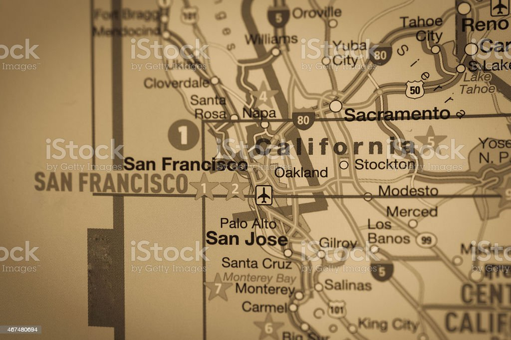 Map of Northern California stock photo