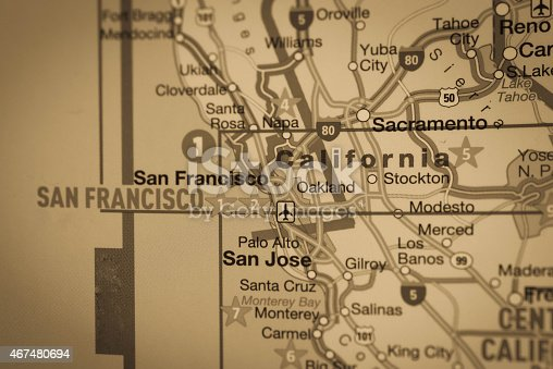 Map Northern California stock photo