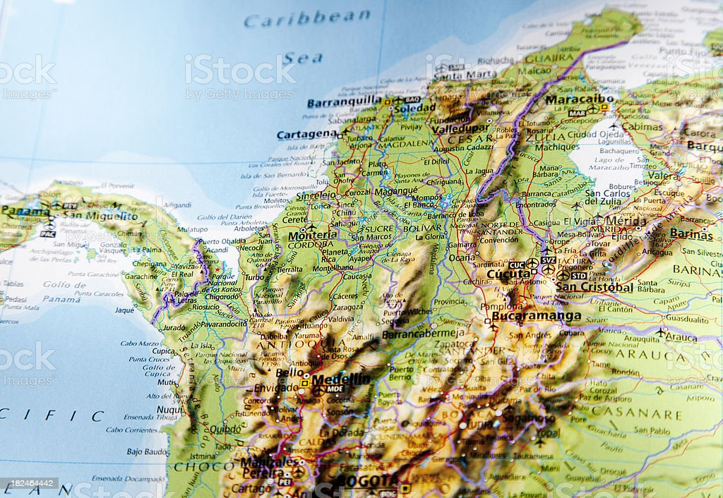 map of northern colombia royalty-free stock photo