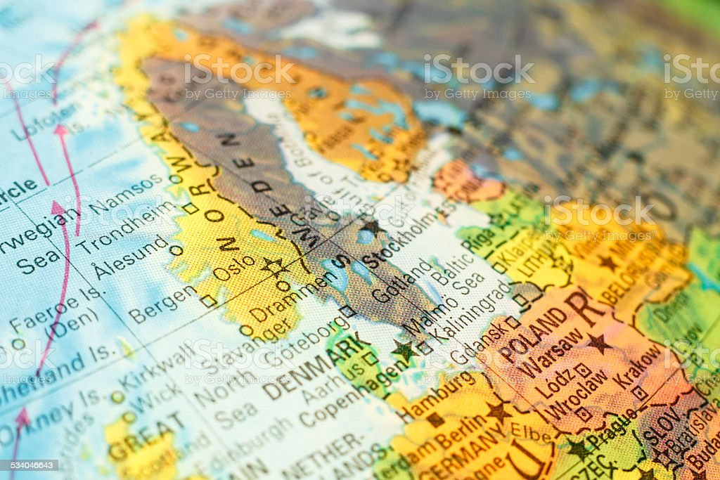 map of Norway. Close-up image stock photo