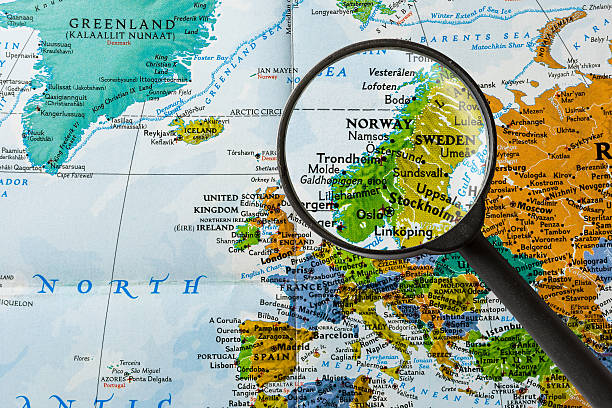 Map of Norway map of Norway through magnifying glass low scale magnification stock pictures, royalty-free photos & images