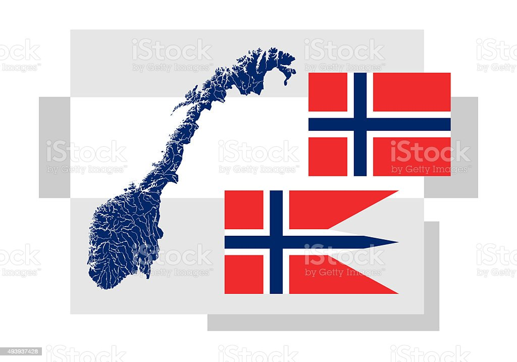 Map of Norway with lakes and rivers and two Norwegian flags. stock photo