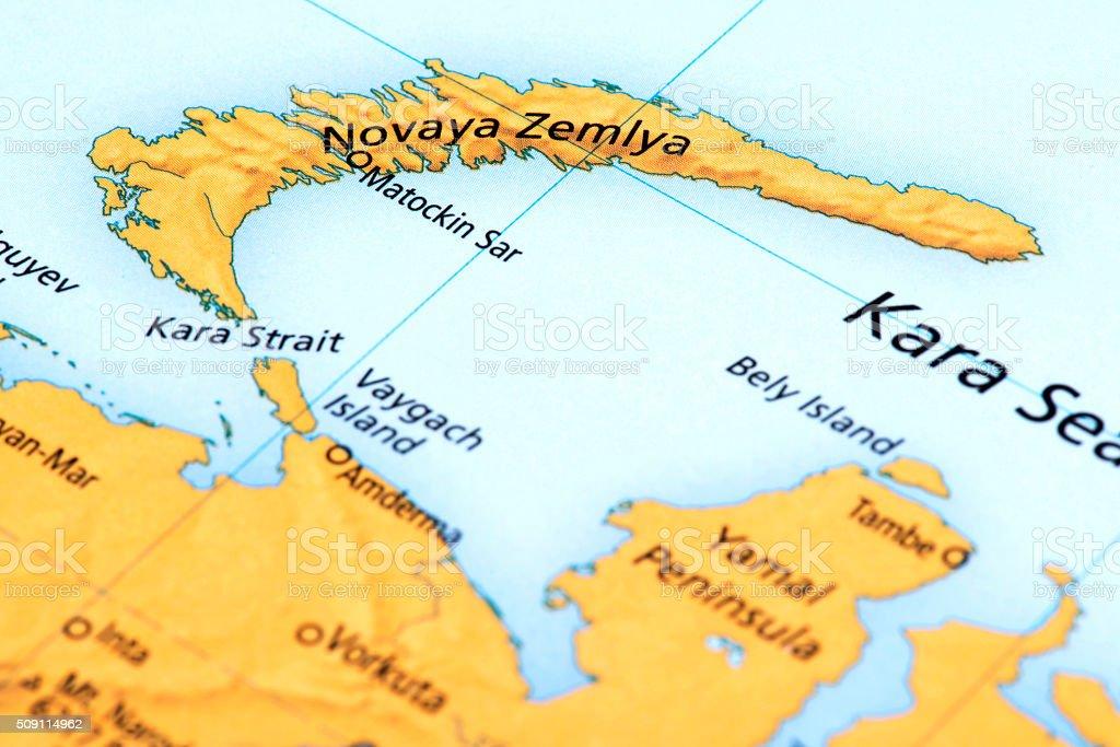 Map of Novaya Zemlya, Russia stock photo