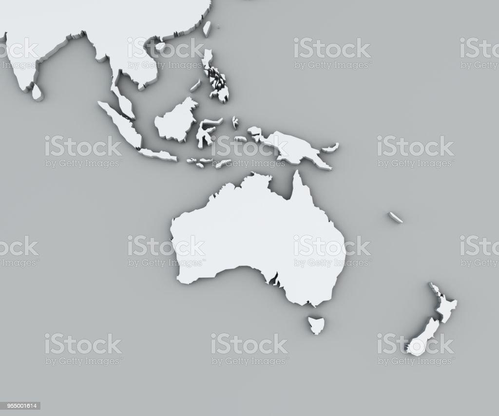 Karte von Ozeanien, weiße Landkarte. Kartographie, geographischer atlas – Foto