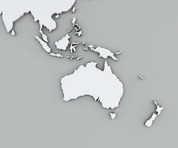 Map of Oceania, white geographic map. Cartography, geographical atlas stock photo