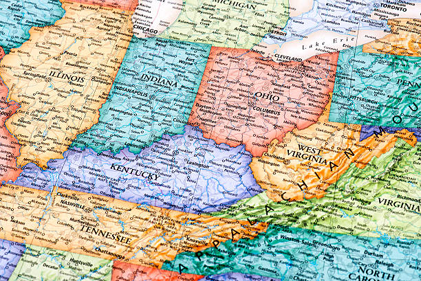 Map of Ohio, Indiana, West Virginia, Kentucky States Map of Ohio, Indiana, West Virginia, Kentucky and Illinois States in USA. Detail from the World Map. ohio stock pictures, royalty-free photos & images
