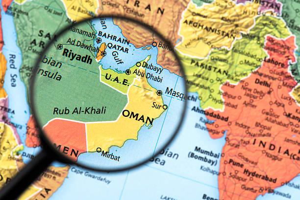 Map of Oman stock photo