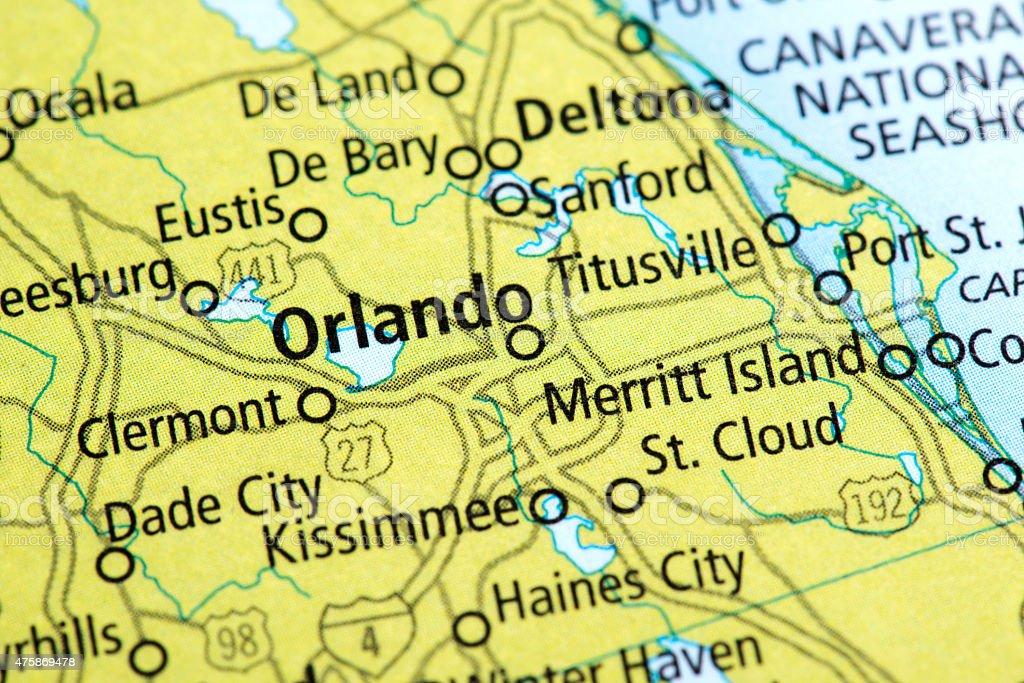 Map of Orlando in Florida State, USA stock photo