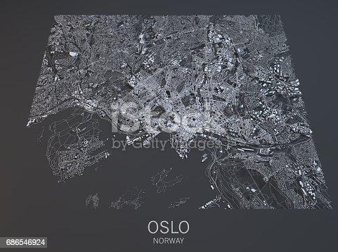 istock Map of Oslo satellite view, city, Norway 686546924