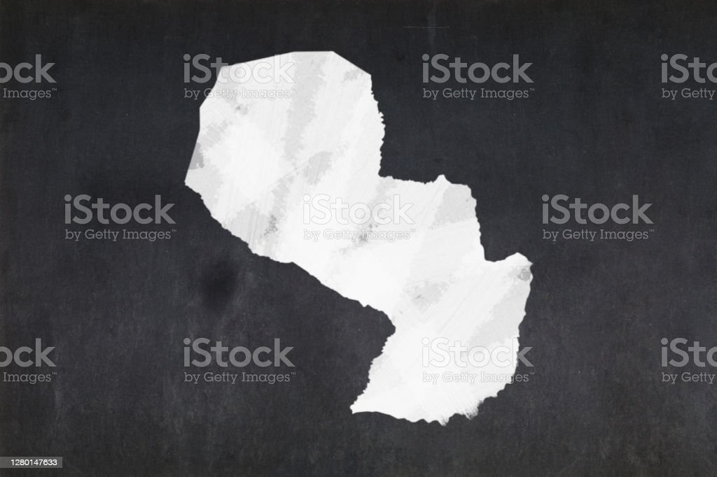 Map of Paraguay drawn on a blackboard Blackboard with a the map of Paraguay drawn in the middle. Backgrounds Stock Photo