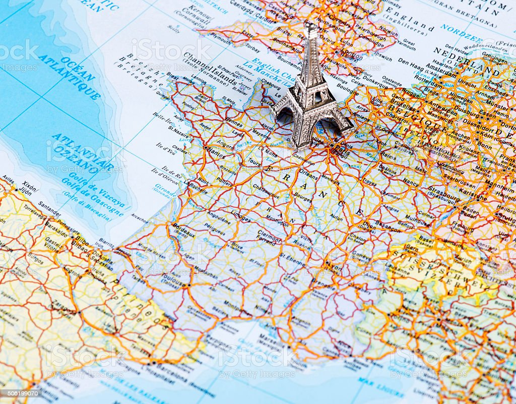 Map Of France Eiffel Tower.Map Of Paris France And Eiffel Tower Stock Photo Download Image