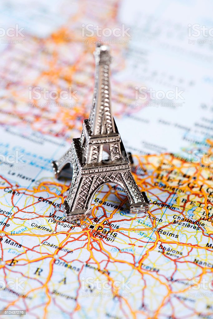 Map Of France Eiffel Tower.Map Of Paris France With Eiffel Tower Stock Photo Download Image