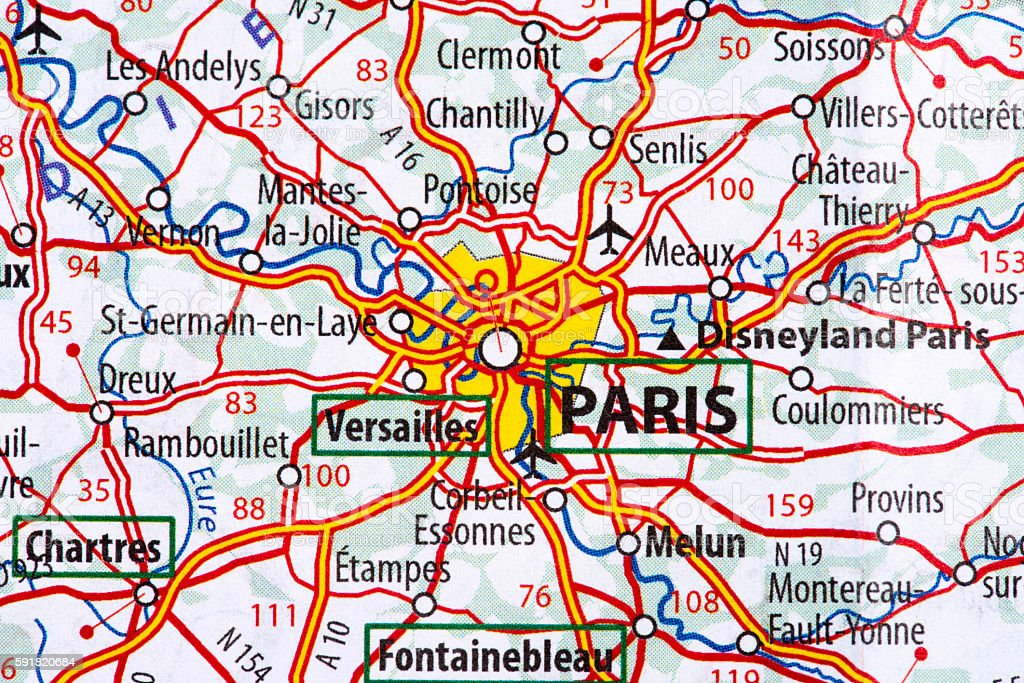 Map Of Paris Stock Photo - Download Image Now - iStock