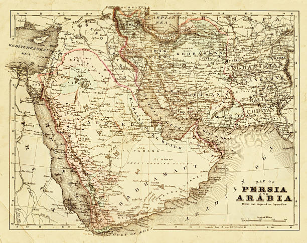 map of persia and arabia 1894 - saudi arabia map stock photos and pictures