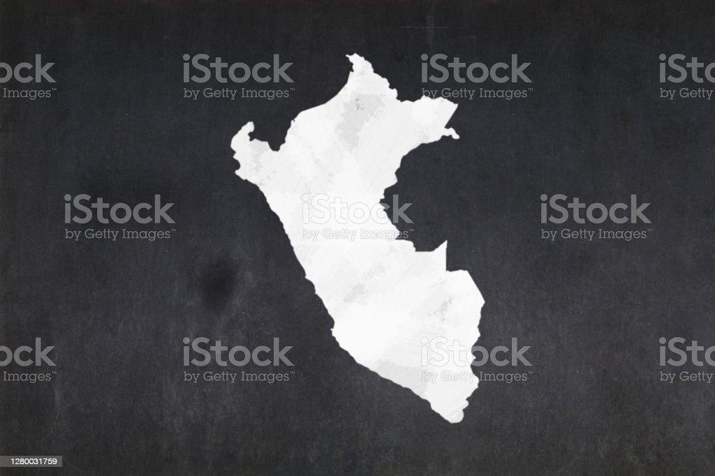 Map of Peru drawn on a blackboard Blackboard with a the map of Peru drawn in the middle. Backgrounds Stock Photo