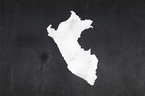 Map Of Peru Drawn On A Blackboard Stock Photo - Download Image Now