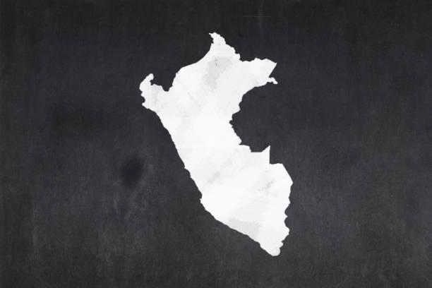 Map of Peru drawn on a blackboard stock photo