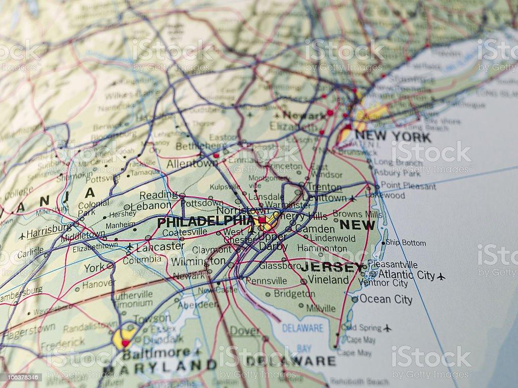 Map of Philadeplhia stock photo