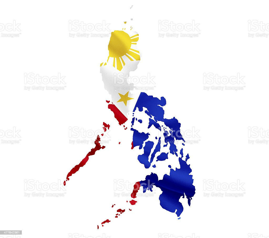 Map of Philippines with waving flag isolated on white stock photo
