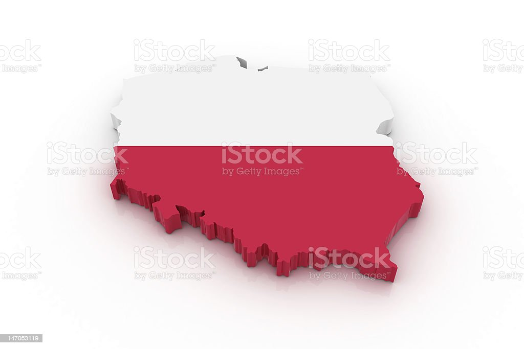 Map of Poland in white and red royalty-free stock photo