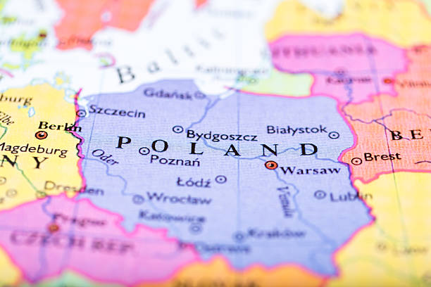 map of poland - poland stock photos and pictures