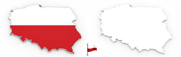 3D map of Poland white silhouette and flag stock photo