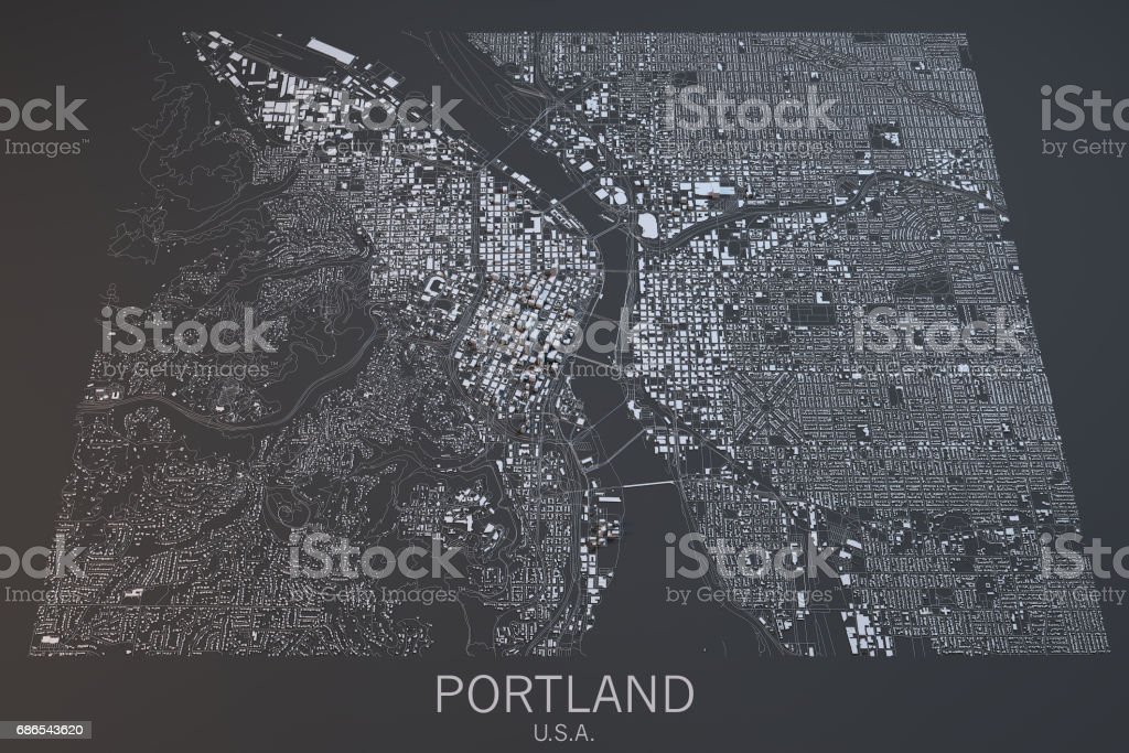Map of Portland, satellite view, city, Usa. 3d rendering foto stock royalty-free