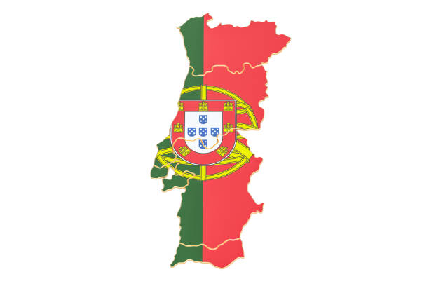 map of portugal, 3d rendering isolated on white background - portugal map imagens e fotografias de stock