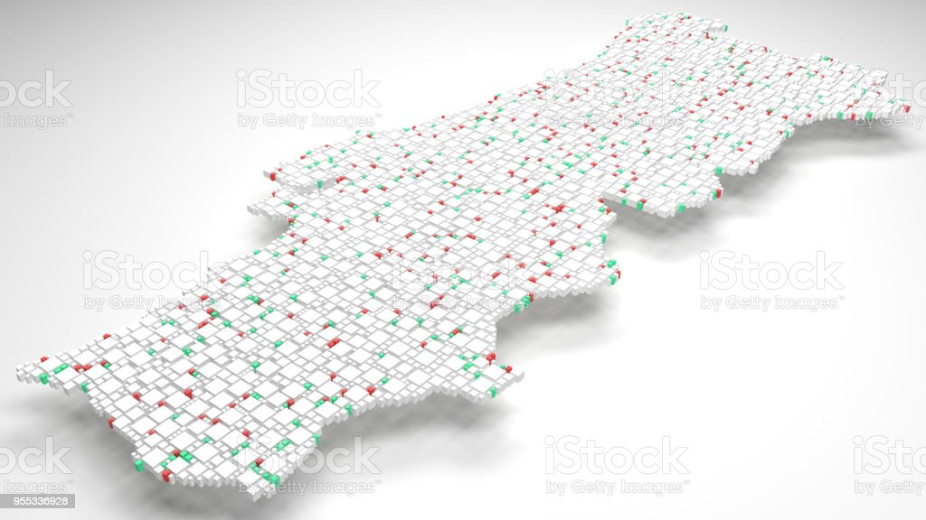 3D Map of Portugal - Europe stock photo
