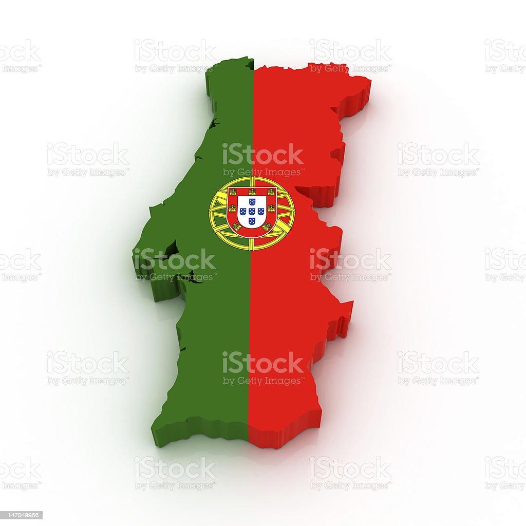 Mapa de Portugal - fotografia de stock