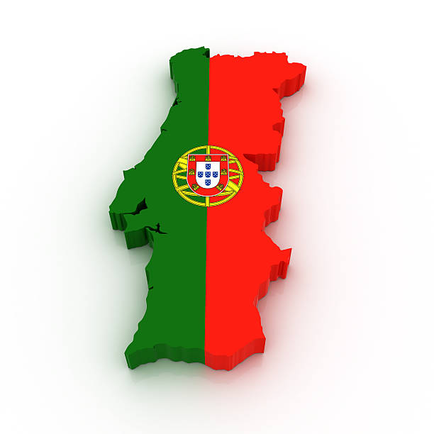 3D map of Portugal with the flag colors stock photo