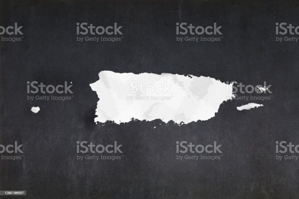 Map of Puerto Rico drawn on a blackboard Blackboard with a the map of Puerto Rico drawn in the middle. Backgrounds Stock Photo