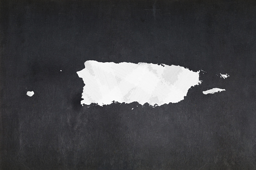 Map Of Puerto Rico Drawn On A Blackboard Stock Photo - Download Image Now