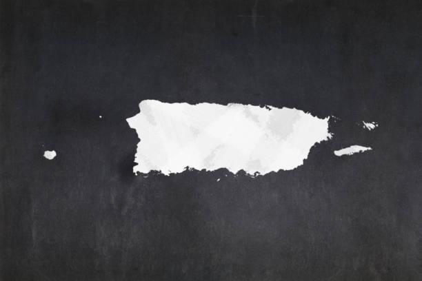 Map of Puerto Rico drawn on a blackboard stock photo