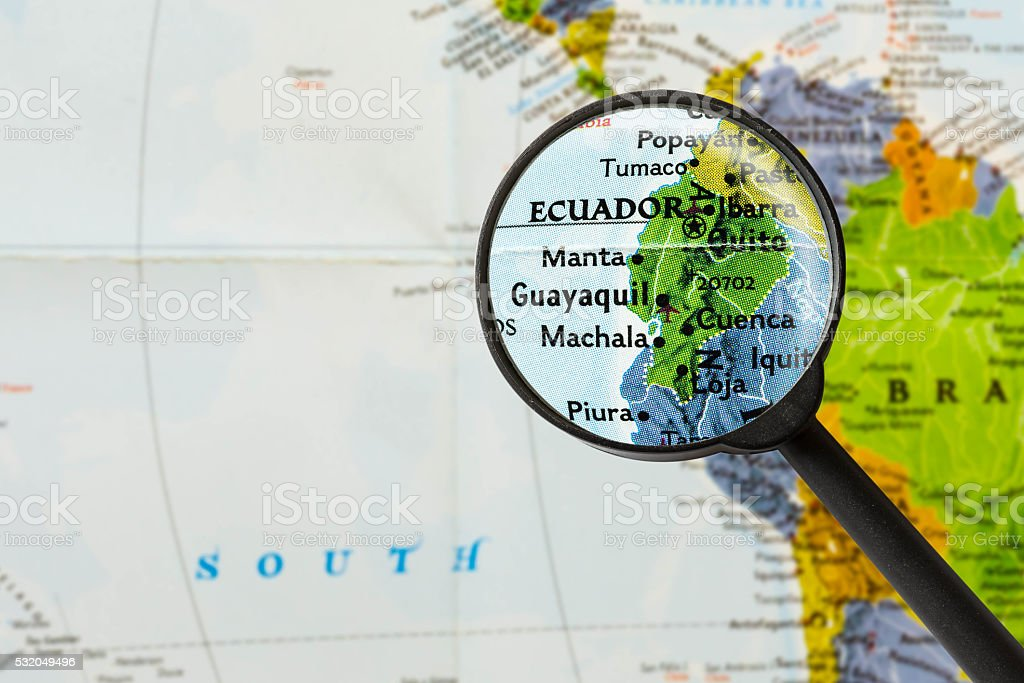 map of Republic of Ecuador stock photo