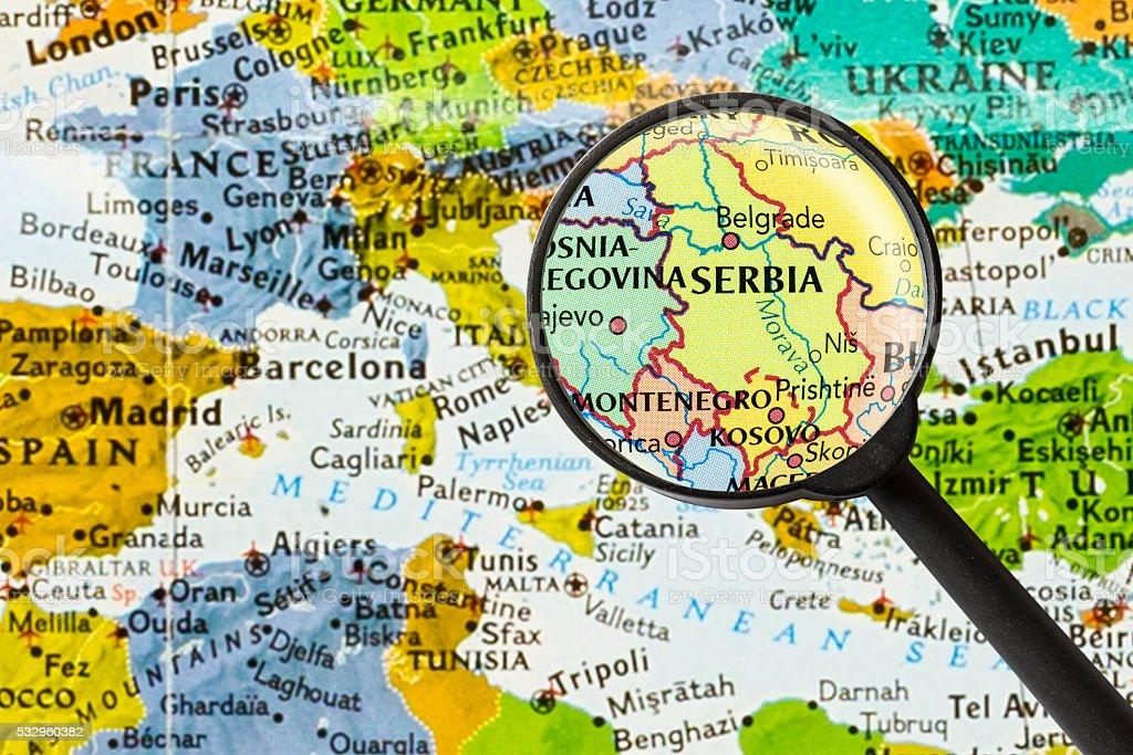 Mappa Della Repubblica Della Serbia Fotografie Stock E Altre