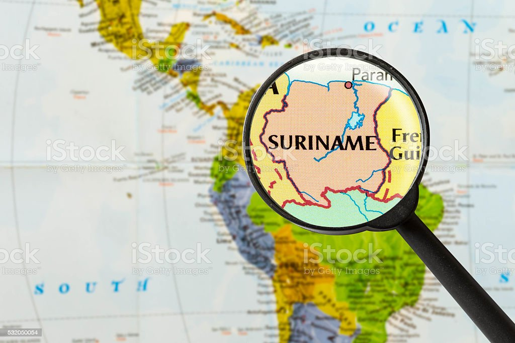 map of Republic of Suriname stock photo