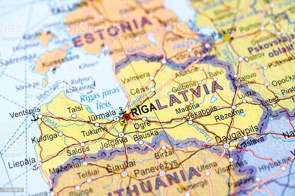Map of Riga, Latvia stock photo