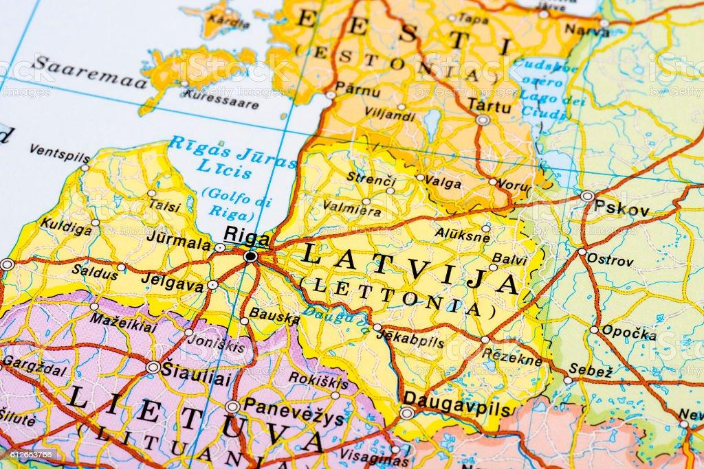 Map of Riga, Latvija stock photo
