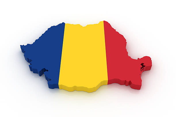 Map of Romania stock photo