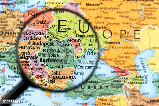 Map of Romania. Detail from the World Atlas. Selective Focus.