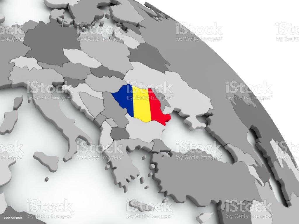 Karte von Rumänien mit Flagge auf der ganzen Welt – Foto