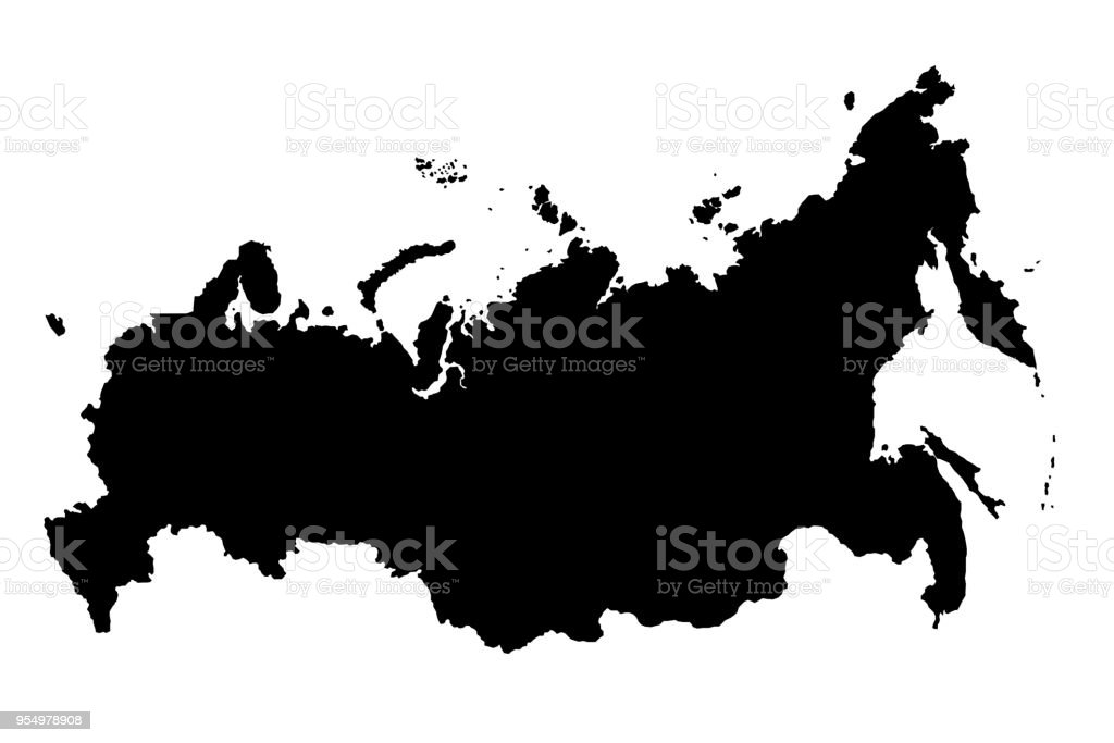Map Of Russia Black Silhouette 3D Illustration stock photo